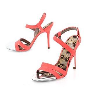 Sam Edelman Abbott Bright Coral High Heel Sandals